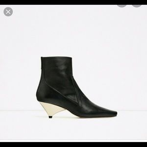 Zara laminated High heel Ankle Boots